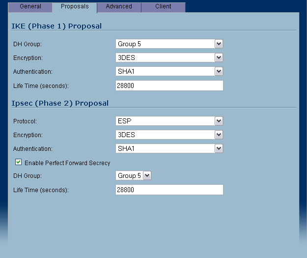 SonicWall VPN Proposals Settings