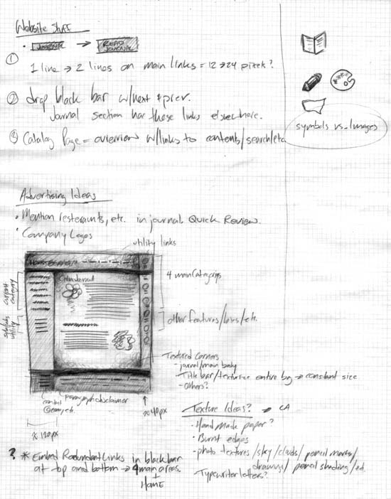 Web site design using paper and pencil
