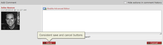 Improved save and cancel buttons for task comments