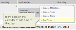 Add time using right click on calendar