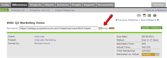 Milestone and Task Email Link