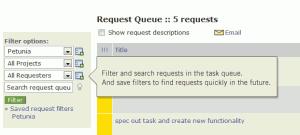 Intervals task management request queue