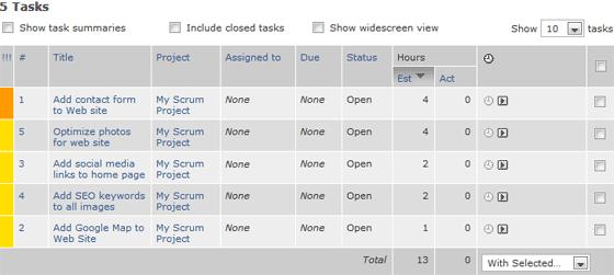 Scrum Backlog Story List