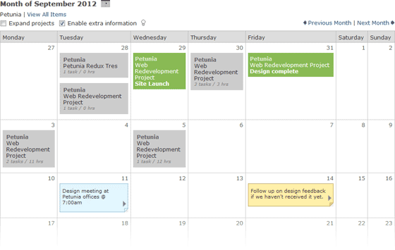 Undesigned Home Page Calendar