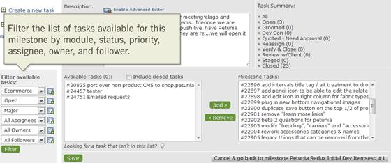 Milestone Task Filter Workflow Improvements