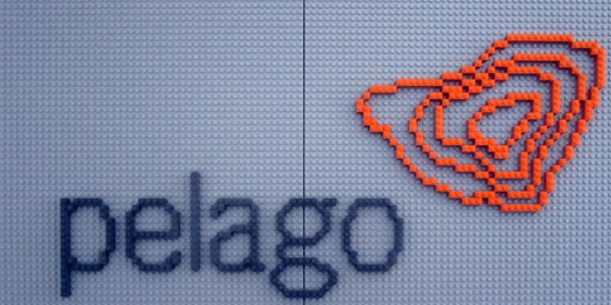 The finished 8-bit logo rendered in Lego