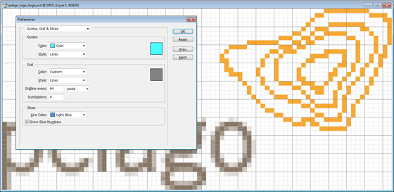 Create a grid for the logo in Photoshop to aid Lego brick placement