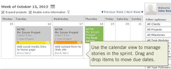 Use the calendar view to manage stories in the sprint
