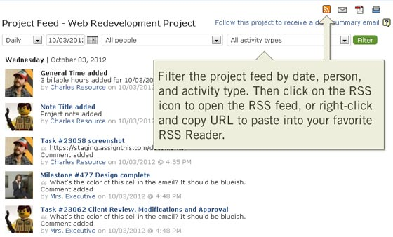 Manage projects online with project RSS feeds