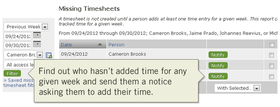 Find missing weekly timesheets for better time tracking online