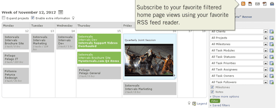 Subscribe to RSS Feeds from the Home Page Calendar