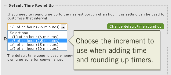 Incremental Options for Rounding up Timers when Adding Time Tracking Entries