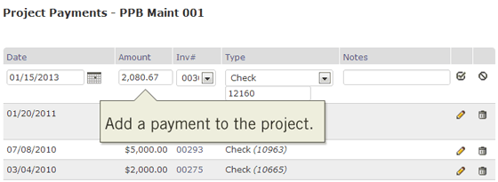 Add each payment to the project as they are received