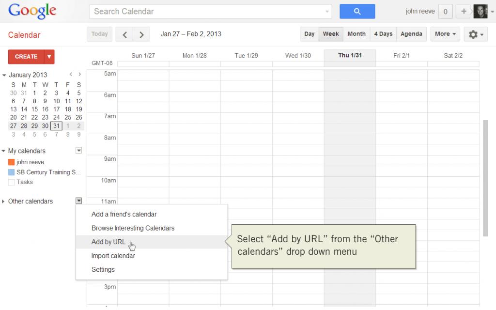 Add calendar by URL with Google Calendar