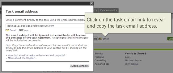 Updating and Tracking Tasks Online via Email Address