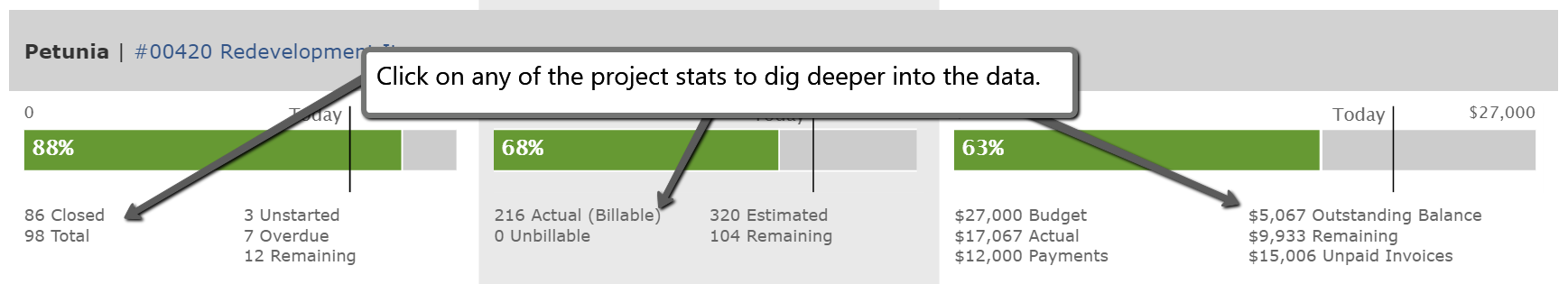 Click on project stats to dig deeper