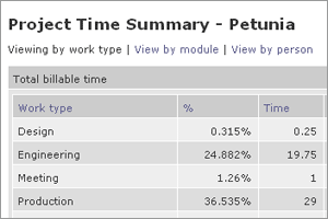 View time summary by work type, module, or person